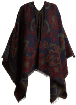 Etro Floral-intarsia wool-blend wrap