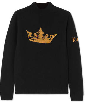Bella Freud Crown Metallic Intarsia Wool And Cashmere-blend Sweater - Black