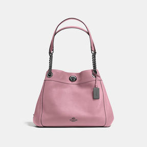 COACH Coach Turnlock Edie Shoulder Bag - DARK GUNMETAL/DUSTY ROSE - STYLE