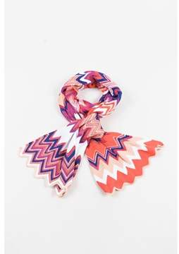 Missoni Pre-owned Pink Multicolor Knit Chevron Striped Scarf.