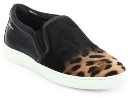 Salvatore Ferragamo Salina Leopard-Print Calf Hair Skate Sneakers