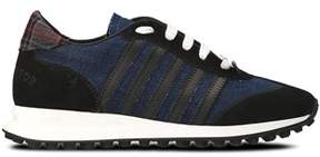 DSQUARED2 Men's Blue Leather Sneakers.