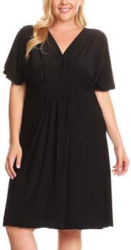 Canari Black Surplice Dress - Plus