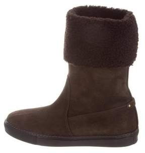 Ralph Lauren Suede Fold-Over Ankle Boots