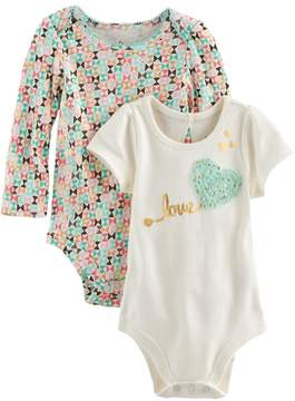 Baby Starters Baby Girl 2-pk. Geometric Print & Love Graphic Bodysuits