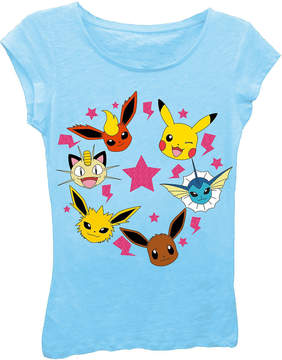 Asstd National Brand Pokemon Girl's Faces with Stars and Lightning Bolts Short Sleeve Graphic T-Shirt with Pink Glitter