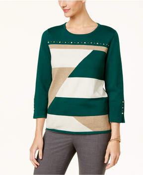 Alfred Dunner Emerald Isle Metallic Colorblocked Sweater