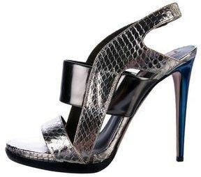 Reed Krakoff Metallic Embossed Leather Sandals