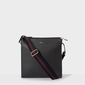 Paul Smith Men's Black Leather 'City Webbing' Small Cross-Body Bag