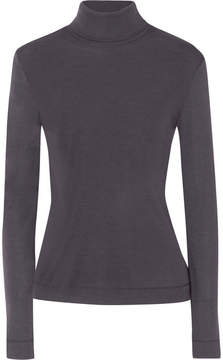 Hanro Silk And Cashmere-blend Jersey Turtleneck Top - Charcoal