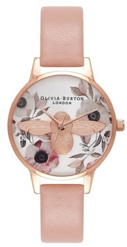 Olivia Burton Women's Bee Leather Strap Watch, 30Mm