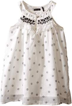 Ikks Sleeveless Cotton Dress with Small Tribal Print & Embroidery Detail at Neckline (Toddler/Little Kids/Big Kids)