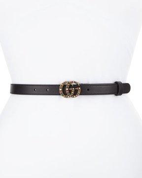 Gucci Crystal-Embellished Double G Belt