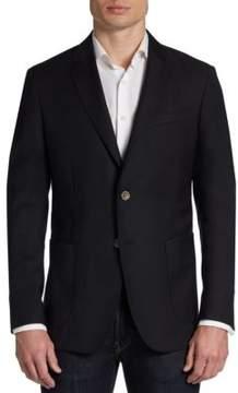 Saks Fifth Avenue BLACK Slim-Fit Wool Two-Button Blazer