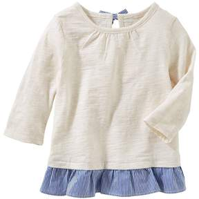 Osh Kosh Girls 4-12 Peplum Hem Slubbed Long Sleeve Top
