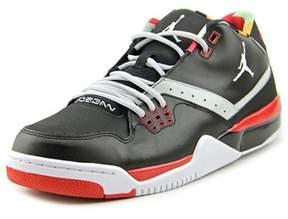 Jordan Flight 23 Men Round Toe Leather Black Sneakers.