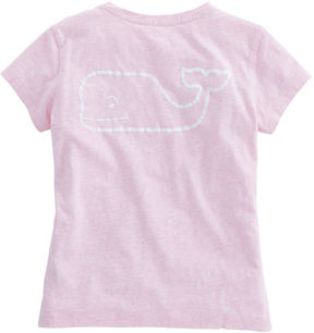 Vineyard Vines Girls Heathered Vintage Whale Pocket Tee