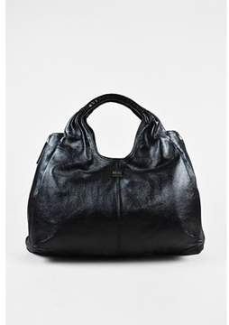Givenchy Pre-owned Black Leather Croc Embossed Handle large Elsa Hobo Bag.