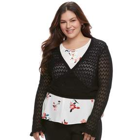 Candies Juniors' Plus Size Candie's Pointelle Cropped Wrap Sweater