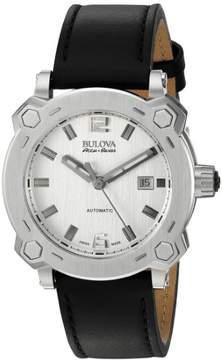 Bulova Accu-Swiss Percheron Automatic Stainless Steel Mens Strap Watch Date 63B191