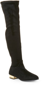 Wild Diva Black Jessie Pearl-Embellished Over The Knee Boots