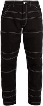 Comme des Garcons Contrast-stitch panelled cotton trousers