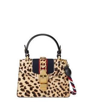 Gucci Sylvie Mini Calf-Hair Satchel Bag, Neutral - NEUTRAL PATTERN - STYLE