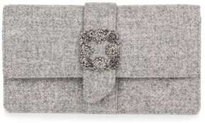 Manolo Blahnik Capri-Tweed Capri grey tweed embellished clutch
