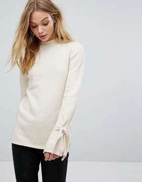 Fashion Union High Neck Knitted Sweater With Bow Sleeves