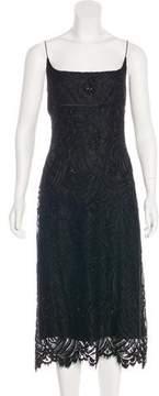 Carmen Marc Valvo Wool Blend Evening Dress