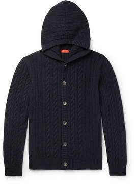 Isaia Cable-Knit Cashmere Hooded Cardigan