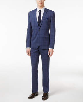 Nick Graham Men's Slim Fit Stretch Blue Windowpane Suit