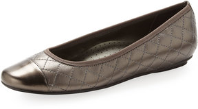 Neiman Marcus Saucy Quilted Leather Ballerina Flat, Pewter