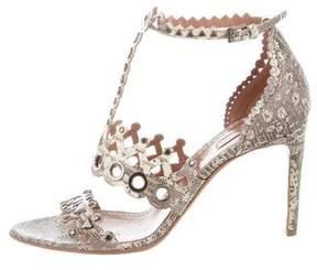 Alaia Snakeskin Laser-Cut Sandals