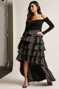 Forever 21 Plaid High-Low Flounce Skirt