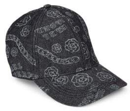 Karl Lagerfeld Patterned Denim Baseball Cap