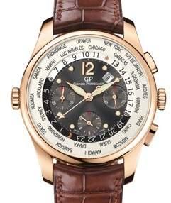 Girard Perregaux WW.TC Financial Grey Dial 18kt Pink Gold Leather Men's Watch