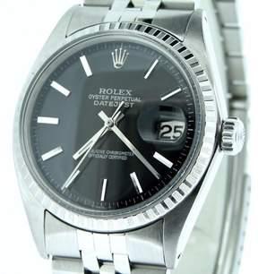 Rolex 1603 Datejust Stainless Steel Jubilee w/Engine-Turned Bezel Black Dial Mens Watch