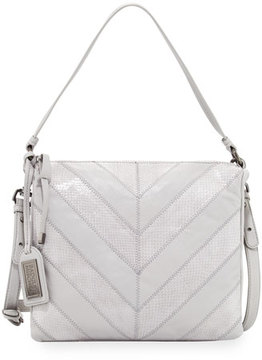 Badgley Mischka Remy Chevron Snake-Embossed Crossbody Bag, Dove