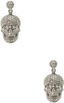 Artisan Women's 18K Gold Diamond Skull Earrings