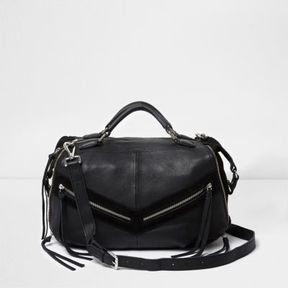 River Island Womens Black leather zip front bowler bag
