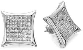 Ice 5/9 CT TW Diamond Sterling Silver Men's Stud Earrings