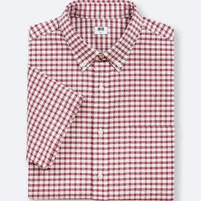 Uniqlo Men's Dry Seersucker Checked Short-sleeve Shirt