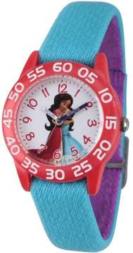 Disney Elena of Avalor, Elena and Isabel Girls' Red Plastic Time Teacher Watch, Reversible Blue and Purple Nylon Strap