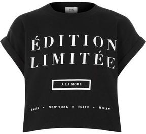 River Island Girls black 'edition limitee' cropped T-shirt