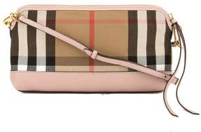 Burberry Pale Orchid Leather and House Check Abingdon Clutch Bag - PINK - STYLE