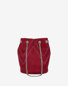 Express Chevron Mini Stud Chain Handle Bucket Bag