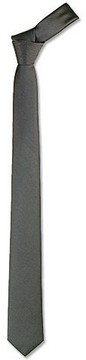 Forzieri Solid Dark Grey Twill Silk Narrow Tie
