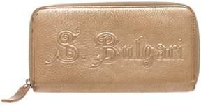 Bvlgari Gold Metallic Leather Long Zippy Wallet.