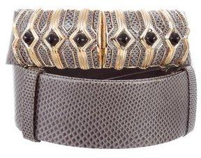 Judith Leiber Snakeskin Embellished Waist Belt